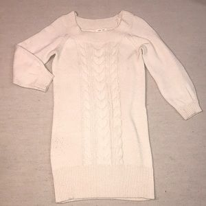 Pink rose cream sweater dress 3/4 sleeve mini M-L